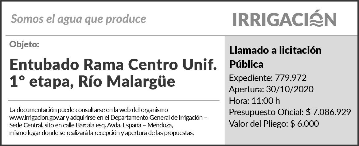 Licitación obra de entubado rama centro unificado 1a etapa