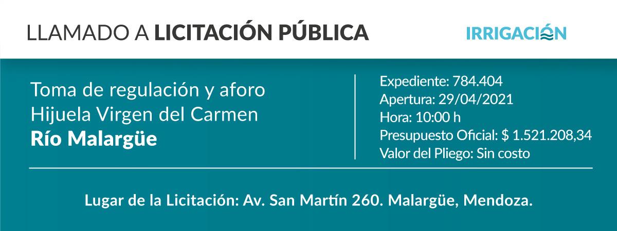 Toma de regulación de aforo hijuela Virgen del Carmen.  Río Malargüe