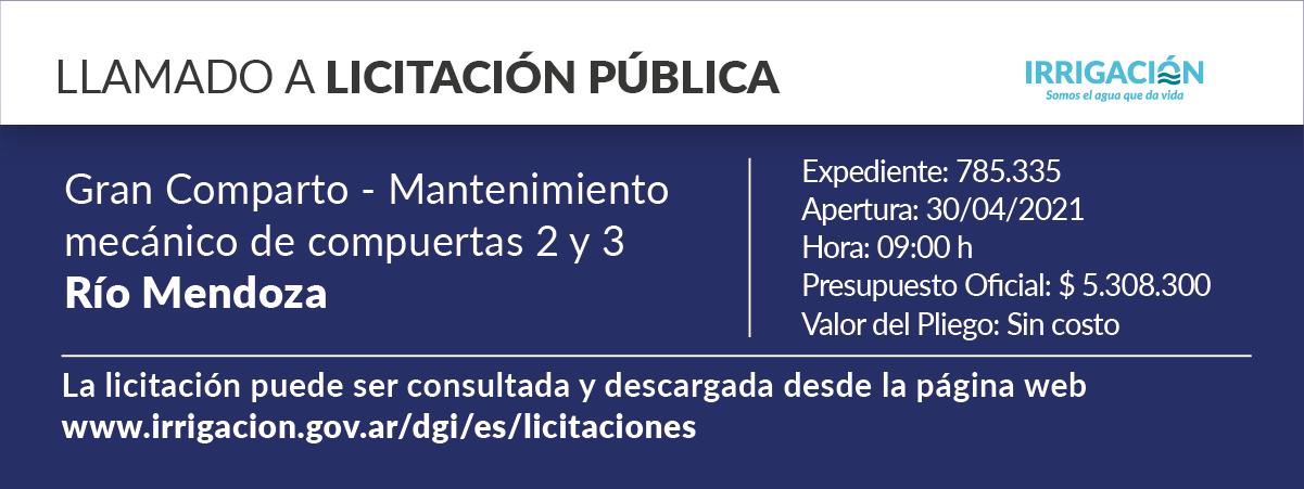 Gran Comparto. Mantenimiento mecánico compartos 2 y 3. Río Mendoza