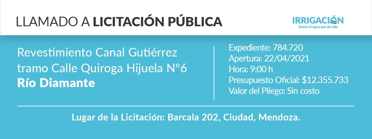Obra: revestimiento canal Gutiérrez tramo calle Quiroga Hijuela Nº 6.                    río Diamante.
