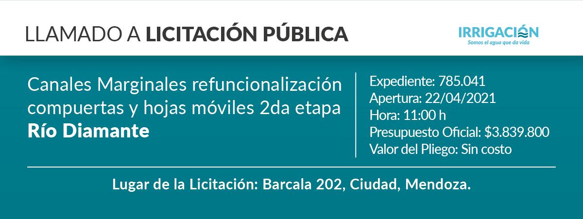 Obra: canales marginales refuncionalización y hojas móviles 2ª etapa río Diamante