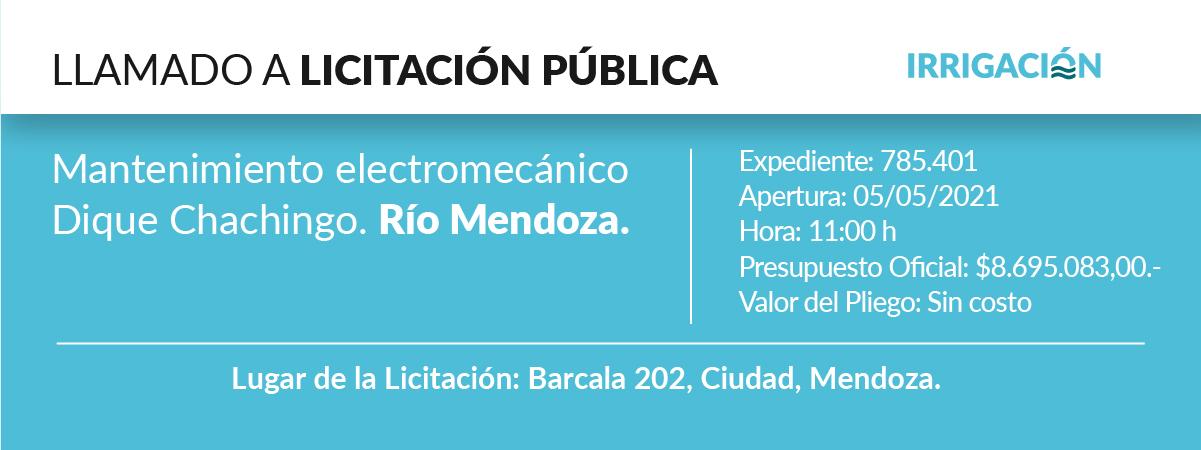 Mantenimiento electromecánico dique Chachingo. Río Mendoza.