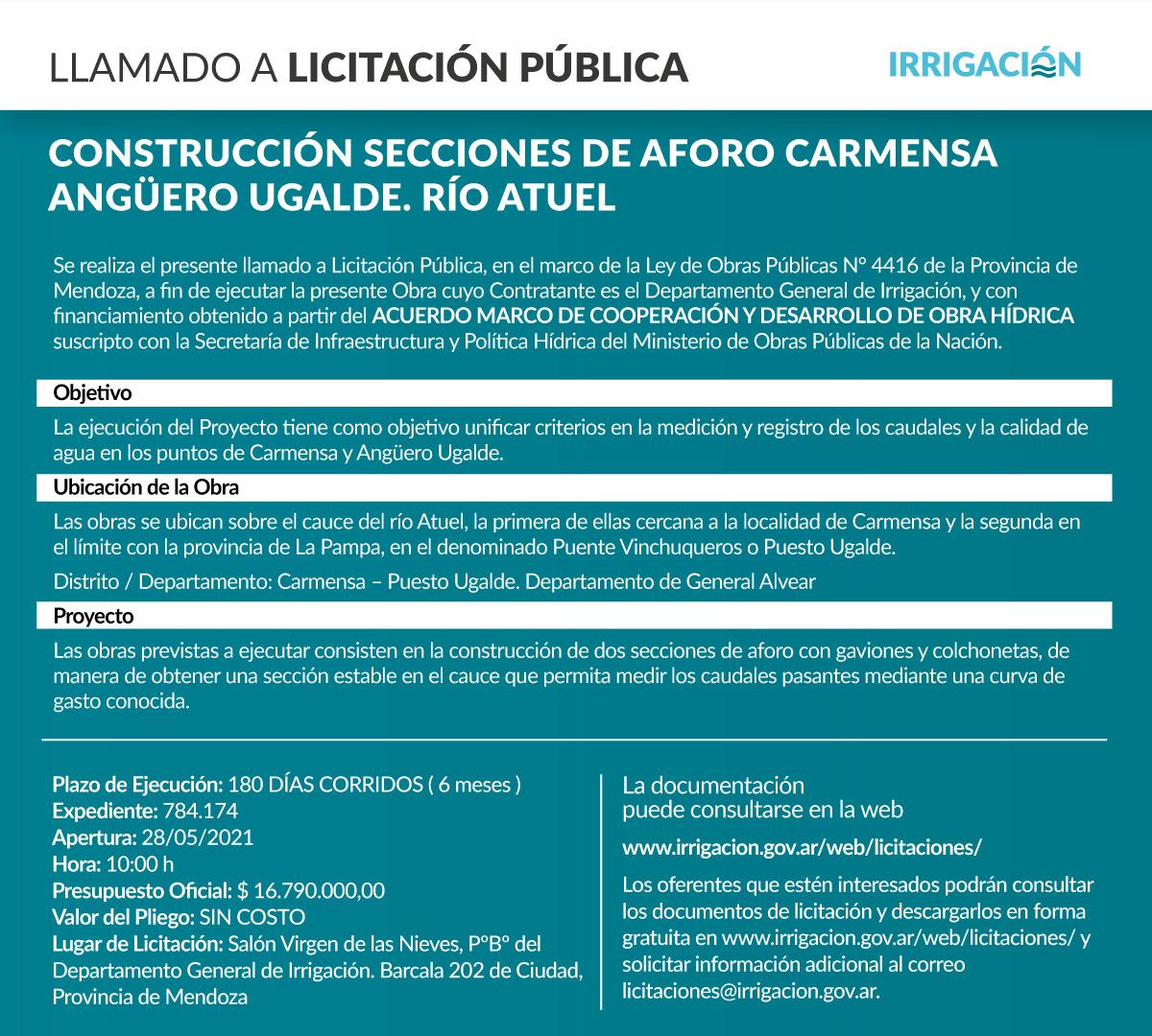 Construcción Secciones de Aforo Carmensa- Angüero Ugalde. Río Atuel