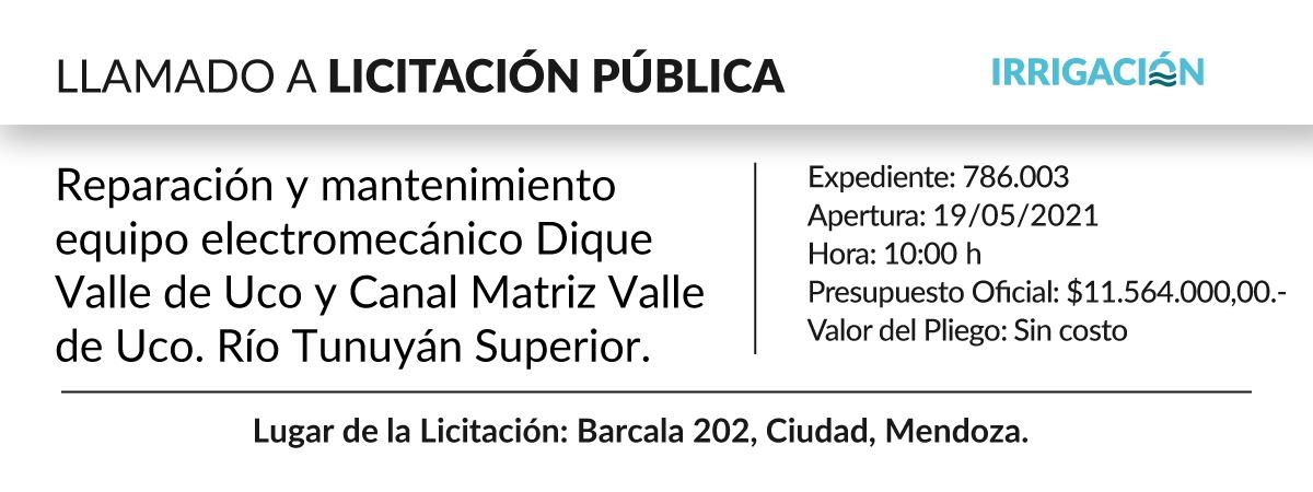 Reparación y mantenimiento equipo electromecánico Dique Valle de Uco y Canal Matriz Valle de Uco. Río Tunuyán Superior