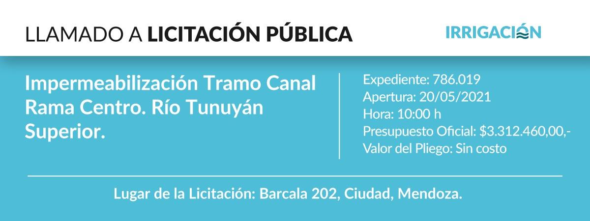 Impermeabilización Tramo Canal Rama Centro. Río Tunuyán Superior