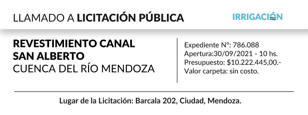 Revestimiento canal San Alberto, cuenca del río Mendoza